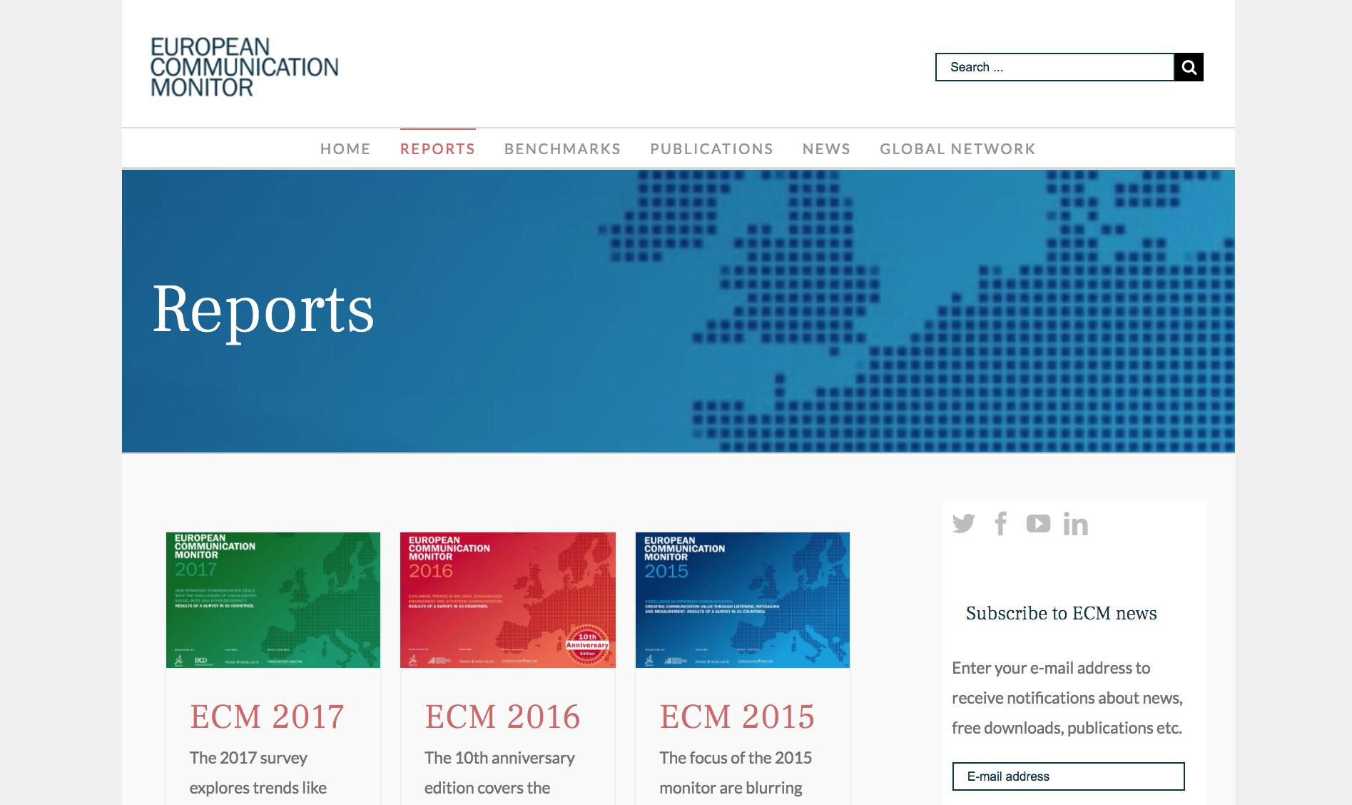 ECM Neue Website European Communication Monitor