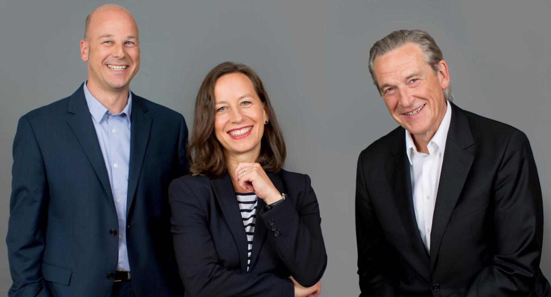 Vorstand Fink & Fuchs von links Michael Grupe Alexandra Gross Stephan Fink Vorstandswechsel